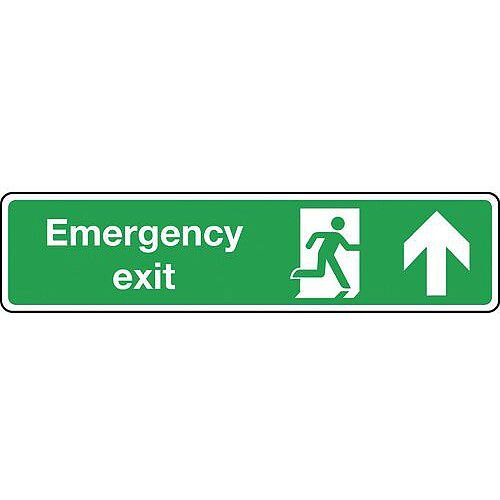 Rigid PVC Plastic Emergency Exit Arrow Up Slimline Sign H x W mm: 125 x 550