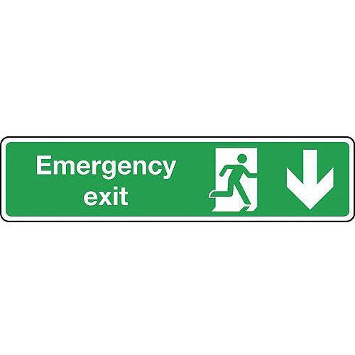 Rigid PVC Plastic Emergency Exit Arrow Down Slimline Sign H x W mm: 125 x 550