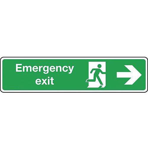 Rigid PVC Plastic Emergency Exit Arrow Right Slimline Sign H x W mm: 125 x 550