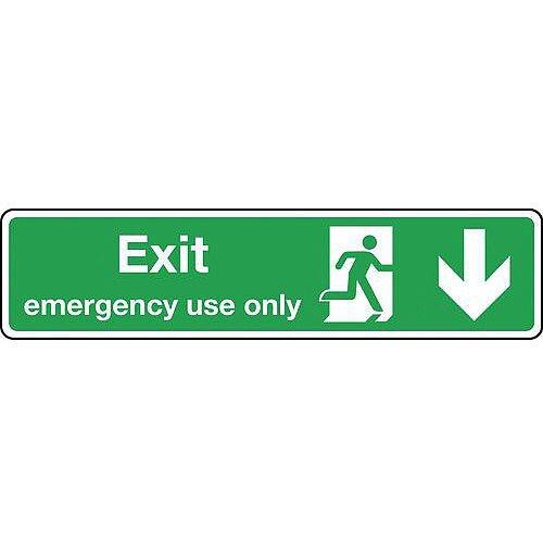Rigid PVC Plastic Exit Emergency Use Only Arrow Down Slimline Sign H x W mm: 125 x 550