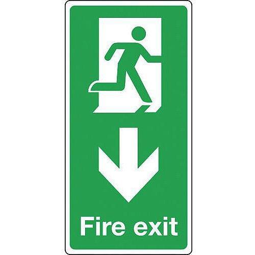 Rigid PVC Plastic Fire Exit Arrow Down Sign Portrait H x W mm: 500 x 250