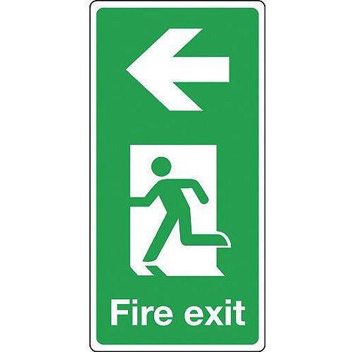 Rigid PVC Plastic Fire Exit Arrow Left Sign Portrait H x W mm: 500 x 250