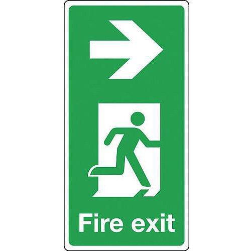 Rigid PVC Plastic Fire Exit Arrow Right Sign Portrait H x W mm: 500 x 250