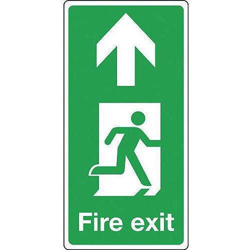Rigid PVC Plastic Fire Exit Arrow Up Sign Portrait H x W mm: 500 x 250