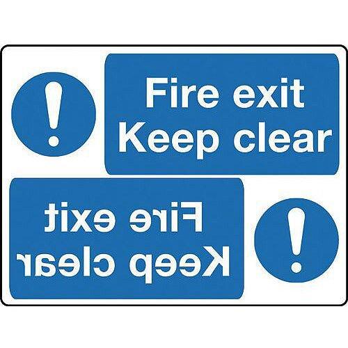 Rigid PVC Plastic Mirror Sign Header Fire Exit Keep Clear 400 x 600mm