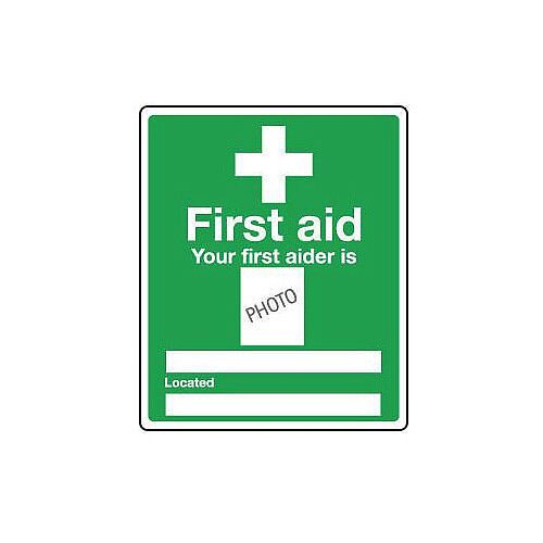 Rigid PVC Plastic Safe Condition And First Aid Sign Your First Aider Is Photo