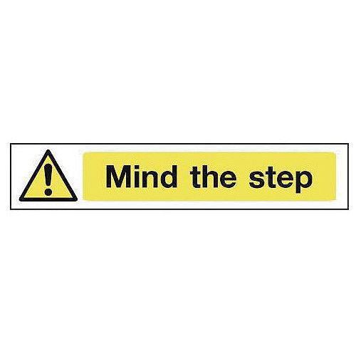 Rigid PVC Plastic Overhead Hazard And Warning Sign Mind The Step