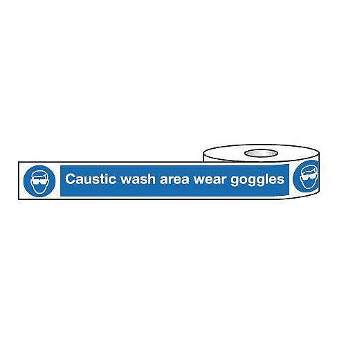 Non-Adhesive Barrier Tape Caustic Wash Area Wear Goggles 150mm x 100m Tape
