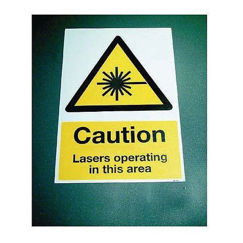 Sign Caution Lasers Operat 400x600 Floor Vinyl