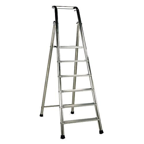 Extra Heavy Duty Aluminium 5 Step Ladder Platform Height 1.2M Closed Height 2.16M Capacity 350Kg