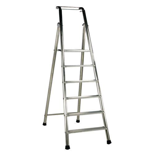 Extra Heavy Duty Aluminium 6 Step Ladder Platform Height 1.43M Closed Height 2.41M Capacity 350Kg