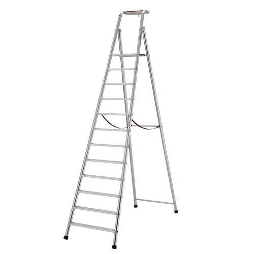Extra Heavy Duty Aluminium 12 Step Ladder Platform Height 2.85M Closed Height 3.93M Capacity 350Kg