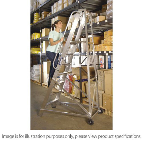 Extra Heavy Duty Aluminium Warehouse Steps Max Height 3.077M Platform Height 2.365M