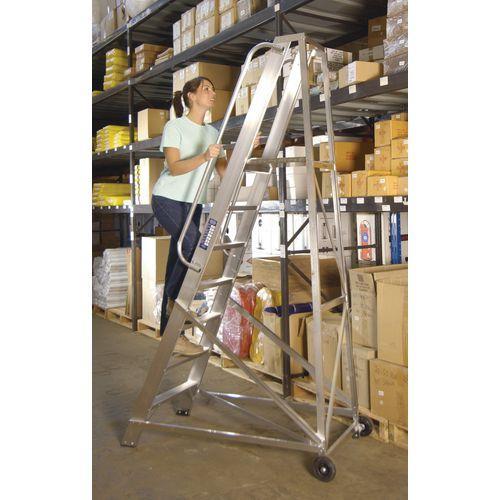 Extra Heavy Duty Aluminium Warehouse Steps Max Height 1.643M Platform Height 933Mm