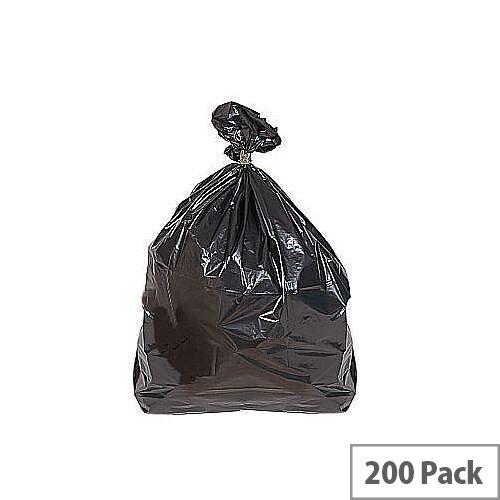 Medium Duty Plastic Sacks 90L Black Pack of 200