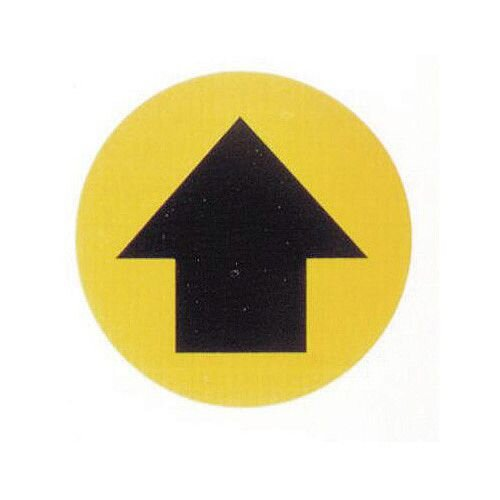Floor Graphic Marker Black Arrow On Yellow Background 430mm Diameter Slip Resistant