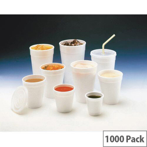 Polystyrene Foam Insulated 7oz/200ml Hot Drink Cups White Pack 1000