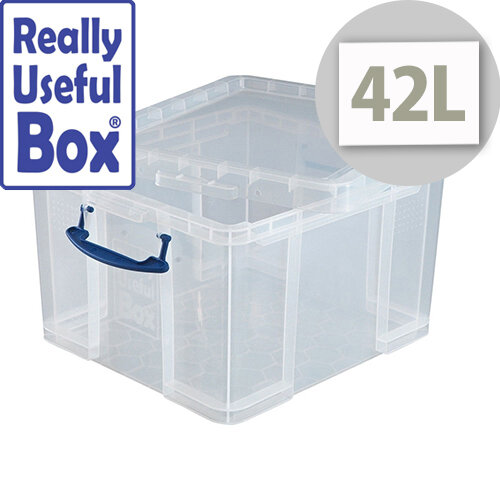 Really Useful Box Transparent Container 42 Litres Handy Box Clear