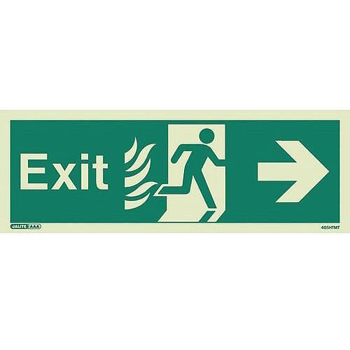 Photoluminescent NHS HTM 65 Fire Exit Sign Arrow Right HxW 200x450mm
