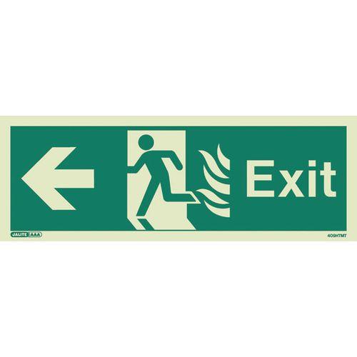 Photoluminescent NHS HTM 65 Fire Exit Sign Arrow Left HxW 200x450mm