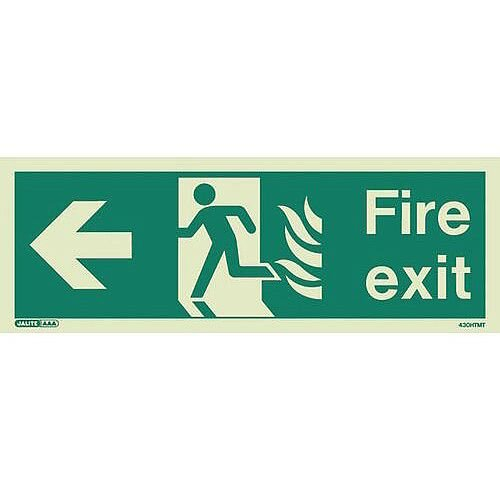 Photoluminescent NHS HTM 65 Fire Exit Sign arrow left HxW 150x400mm Ref:SY318154