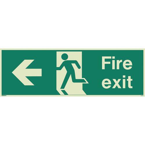 Photoluminescent Fire Exit Sign Fire Exit Arrow Left HxW 200X450mm