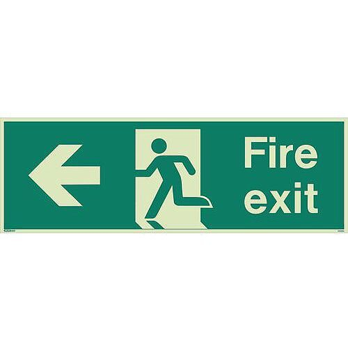 Photoluminescent Fire Exit Single Sided Sign For Large Areas 300X900mm Fire Exit Arrow Left