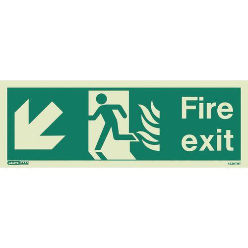 Photoluminescent NHS HTM 65 Fire Exit Sign Arrow Down Left HxW 200x450mm