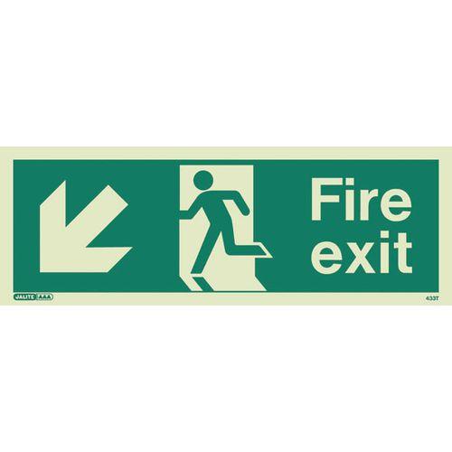 Photoluminescent Fire Exit Sign Fire Exit Arrow Down Left HxW 150X400mm