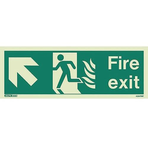 Photoluminescent NHS HTM 65 Fire Exit Sign arrow up left HxW 150x400mm
