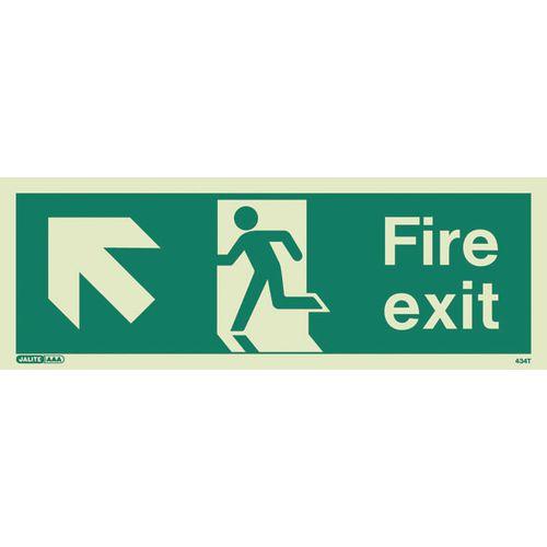Photoluminescent Fire Exit Sign Fire Exit Arrow Up Left HxW 200X450mm