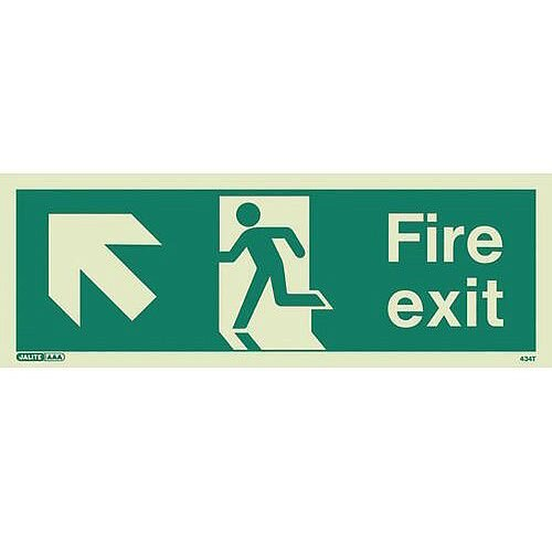 Photoluminescent Fire Exit Sign Fire Exit Arrow Up Left HxW 150X400mm