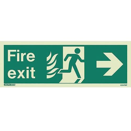 Photoluminescent NHS HTM 65 Fire Exit Sign arrow right HxW 150x400mm Ref: SY318215