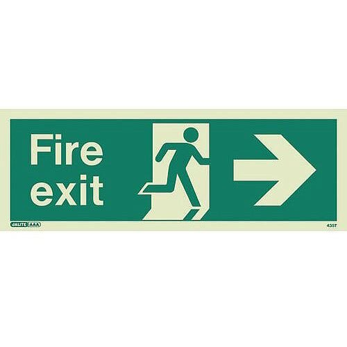Photoluminescent Fire Exit Sign Fire Exit Arrow Right HxW 200X450mm