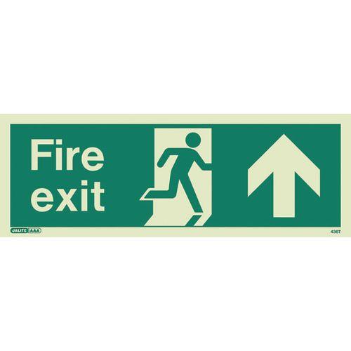 Photoluminescent Fire Exit Sign Fire Exit Arrow Up HxW 200X450mm