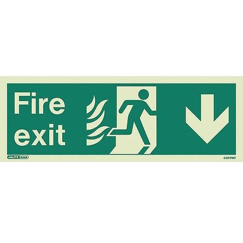 Photoluminescent NHS HTM 65 Fire Exit Sign Arrow Down HxW 200x450mm Ref:SY318261