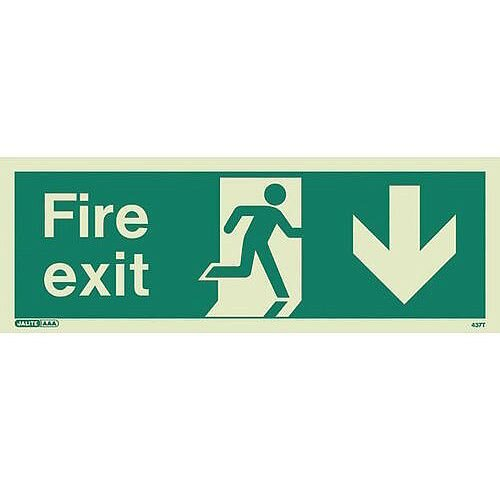 Photoluminescent Fire Exit Sign Fire Exit Arrow Down HxW 150X400mm