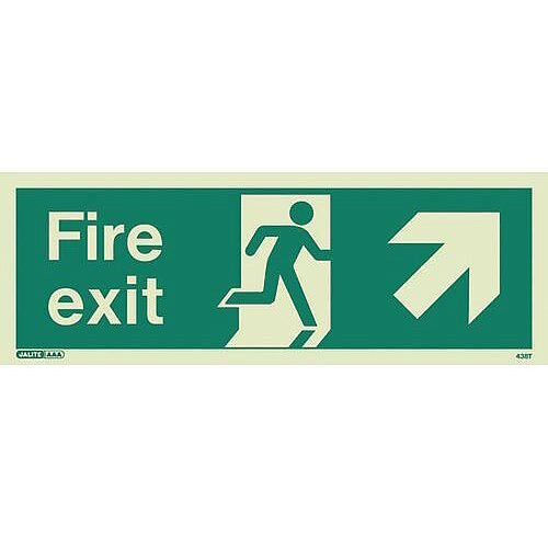 Photoluminescent Fire Exit Sign Fire Exit Arrow Up Right HxW 200X450mm
