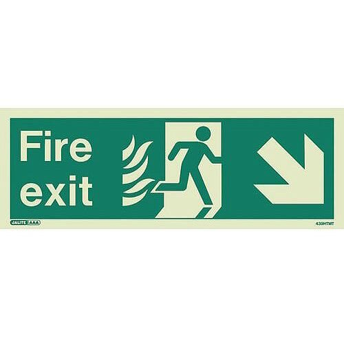 Photoluminescent NHS HTM 65 Fire Exit Sign Arrow Down Right HxW 200x450mm Ref:SY318354