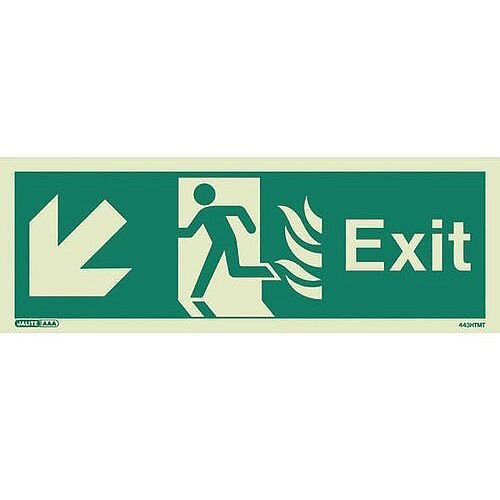 Photoluminescent NHS HTM 65 Fire Exit Sign Arrow Down Left HxW 150x400mm