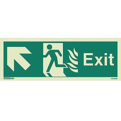 Photoluminescent NHS HTM 65 Fire Exit Sign Arrow Up Left HxW 200x450mm Ref: SY318379