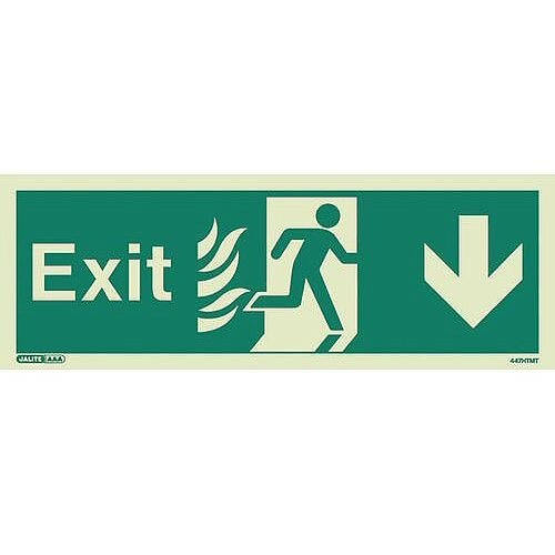 Photoluminescent NHS HTM 65 Fire Exit Sign Arrow Down HxW 200x450mm Ref:SY318407