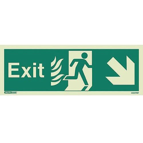 Photoluminescent NHS HTM 65 Fire Exit Sign Arrow Down Right HxW 150x400mm Ref:SY318421