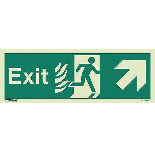 Photoluminescent NHS HTM 65 Fire Exit Sign Arrow Up Right HxW 200x450mm