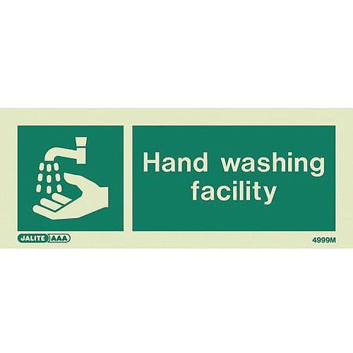 Photoluminescent Rigid Plastic Sign 200X80mm Single Sided Water Management Hand Washing Facility
