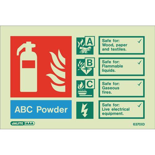 Photoluminescent Rigid Plastic Sign 100X150mm Fire Extinguisher Abc Powder