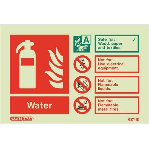 Photoluminescent Rigid Plastic Sign 100X150mm Fire Extinguisher Water