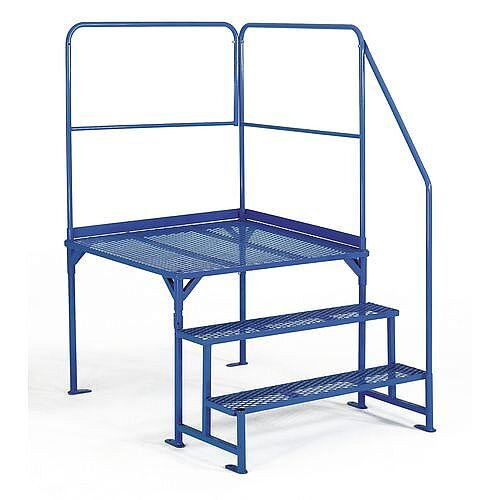 Work Platforms Platform Size 1000 X 1000mm 3 Step Steel Platform Height 690mm Blue