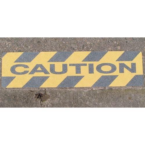 Hazard Warning Tape Printed Safety Grip Strips Anti Slip Message: Caution 150 x 610mm Pack 10