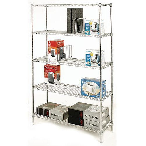 Olympic Chrome Wire Shelving System 1895mm High Starter Unit WxD 1524x610mm 5 Shelves &4 Posts 275kg Shelf Capacity